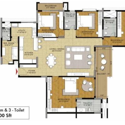 Fern 4BHK 3T Floor Plans