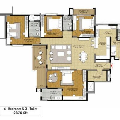 Ginger 4BHK 3T Floor Plan