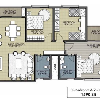 Hibiscus 3B-2T- Floor Plan