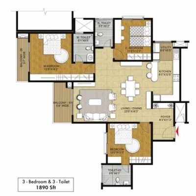 Hibiscus 3BHK-3T Floor Plan