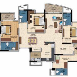 3BHK+Sevant- 2226 sft Salarpuria Casa Irene Floor Plan
