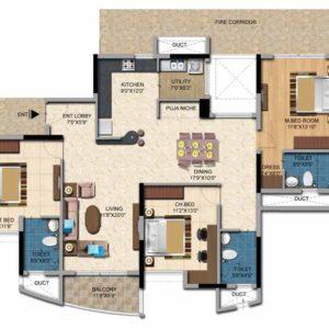3BHK-1893 Sft Salarpuria Sattva Casa Irene -Floor Plan