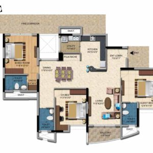3 BHK-1910 Sft Salarpuria Casa Irene Floor Plan -