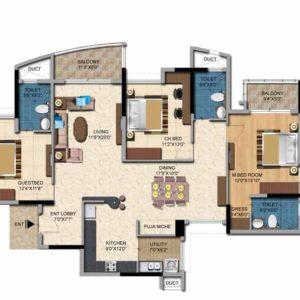 3BHK-1959sft-Salarpuria Sattva Casa Irene Floor Plan