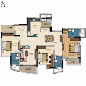 3 BHK 2005 Sft Salarpuria Casa Irene Floor Plan