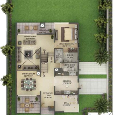 5000 Sq.ft Villa Ground Floor Plan