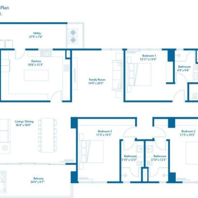 4 Bedroom Floor Plan - Embassy Lake Terraces