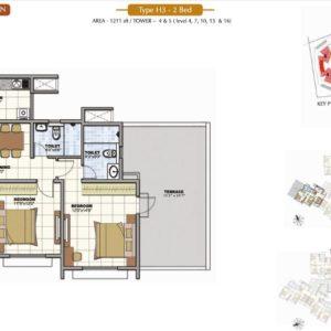 2 BHK Prestige Sunrise Park Floor Plan