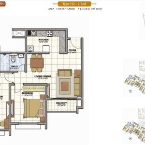 2 Bedroom Prestige Sunrise Park Floor Plan