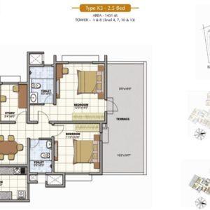 2.5 BHK Floor Plan Prestige Sunrise Park Bangalore