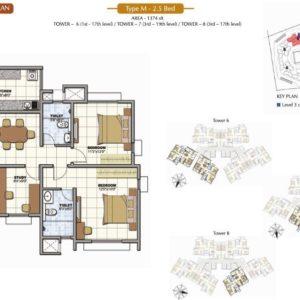 2.5 Bed Floor Plan Prestige Sunrise Park Bangalore