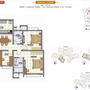 2.5 Bed Floor Plan Prestige Sunrise Park Flats for sale in Bangalore