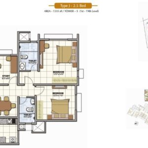 2.5 Bedroom Prestige Sunrise Park Floor Plan