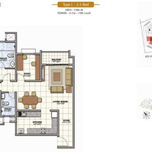 2.5 Bedroom floor Plan Prestige Sunrise Park Bangalore