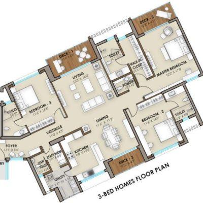 3 Bedroom Floor Plan - Phoenix One Bangalore West