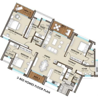 3 Bedroom Floor Plan -Phoenix One Bangalore West