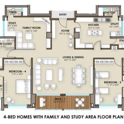 4 Bedroom Floor Plan - Phoenix One Bangalore West