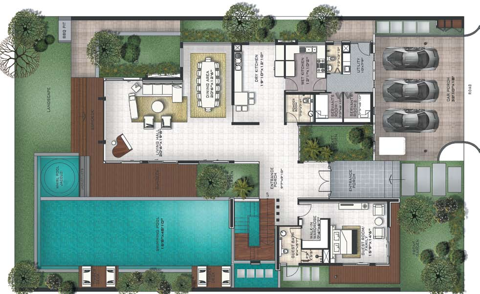 Prestige golfshire golf villas nandi hills road bangalore for 4 bedroom villa plans