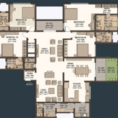 Sobha Morzaria Grandeur 4 Bedroom Floor Plans