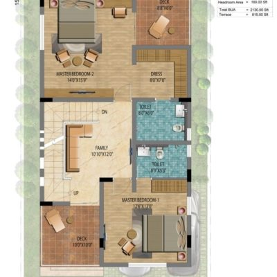 Address Makers Lake View 1500 sft Villa Plan