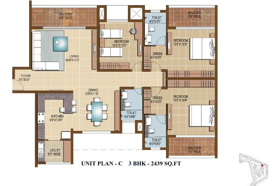 Sterling infinia 3 4 bedroom apartments bangalore for Sterling plan