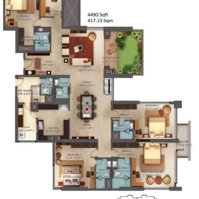 4 BHK Floor Plans of Mantri Centrium
