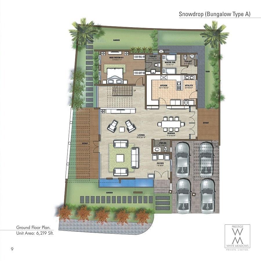 Prestige white meadows villas apartments whitefield for Villas floor plans
