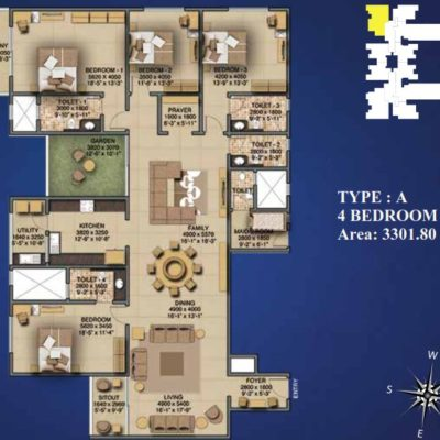 Sobha Indraprastha 4 Bedroom Plans