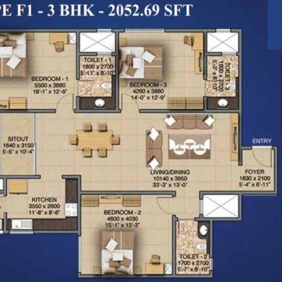 Sobha Indraprastha 3 Bedroom Plans