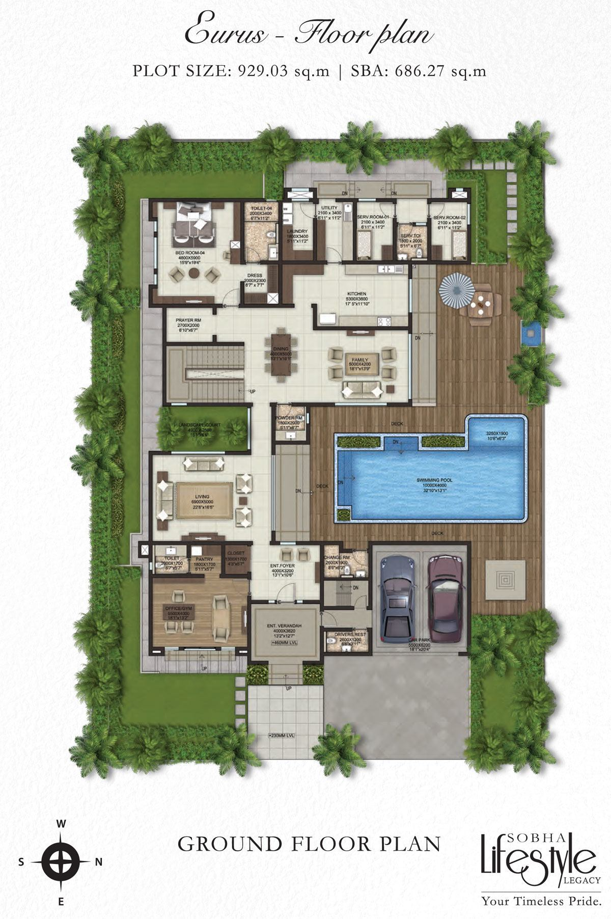 Sobha lifestyle legacy 4 bedroom villas bangalore for Floorplan com