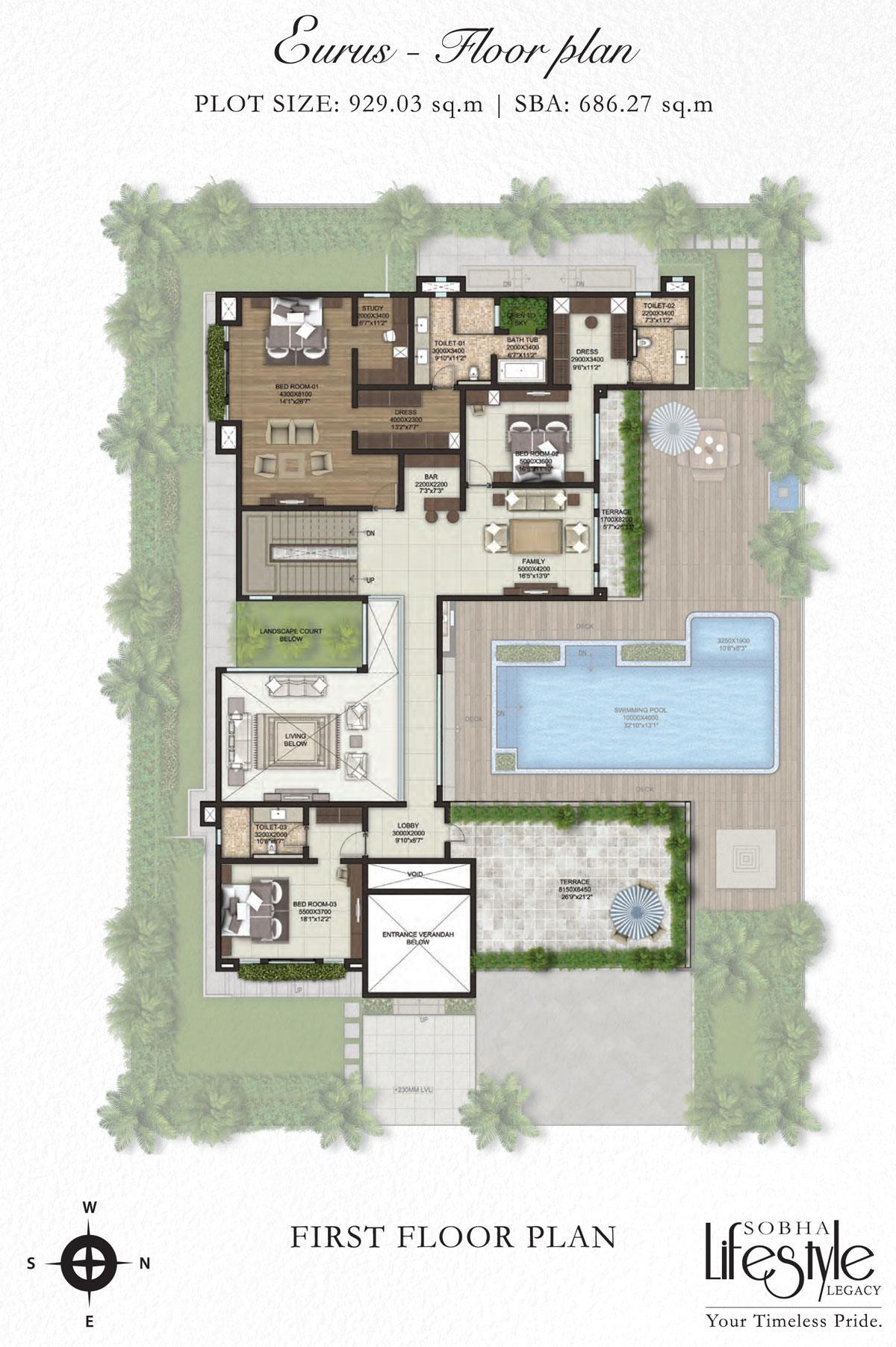 Sobha lifestyle legacy 4 bedroom villas bangalore for 4 bedroom villa plans