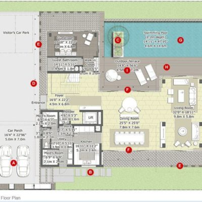 Cypress-Ground Floor Plan- Embassy Boulevard luxury villa in bangalore