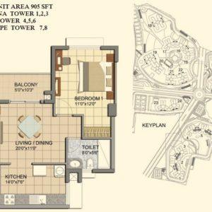 1 BHK- Type B1- TOWER-1-2-3-4-5-6-7-8- Prestige Lakeside Habitat Floor Plan