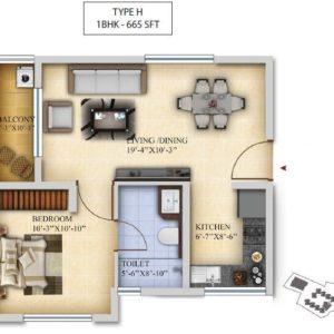 1BHK-Type H- Salarpuria Sattva Divinity Floor Plan