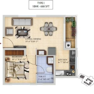 1BHK-Type I- Salarpuria Sattva Divinity Floor Plan