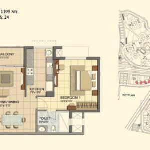 2 BHK- Type A- T23-T24- Prestige Lakeside Habitat Floor Plan