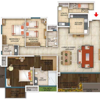3 BHK floor plans- The Address Makers-The Five summit address