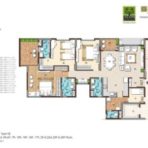 3 BHK Type 1B Floor Plan