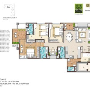 3 BHK Type 2B Floor Plan