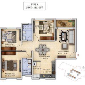 3 BHK-Type A - Salarpuria Sattva Divinity Floor Plan