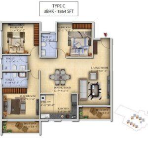 3 BHK-Type C- Salarpuria Sattva Divinity Floor Plan