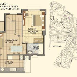 3 BHK- Type C1-DUPLEX-LOWER LEVEL-TOWER 15-16-17- Prestige Lakeside Habitat Floor Plan