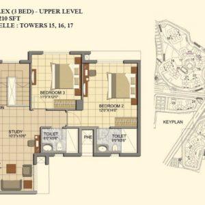 3 BHK- Type C1-DUPLEX-UPPER LEVEL-TOWER 15-16-17