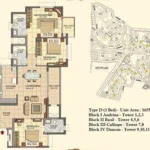 3 BHK- Type D- T1 to T11- Prestige Lakeside Habitat Floor Plan