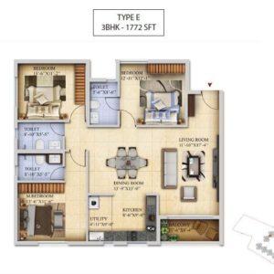 3 BHK-Type E - Salarpuria Sattva Divinity Floor Plan