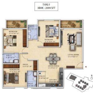 3 BHK-Type F - Salarpuria Sattva Divinity Floor Plan