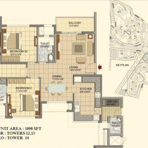 3 BHK- Type F1- TOWER-12-13-14- Prestige Lakeside Habitat Floor Plan
