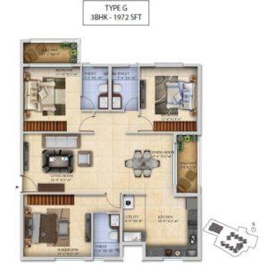 3 BHK-Type G - Salarpuria Sattva Divinity Floor Plan