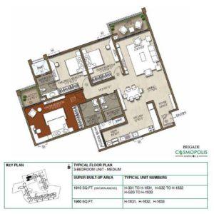 3-Bedroom -1910 Sft-Floor-Plan