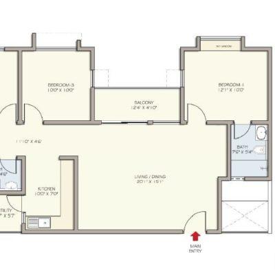 Divyasree Republic of Whitefield 3bhk-floor-plan